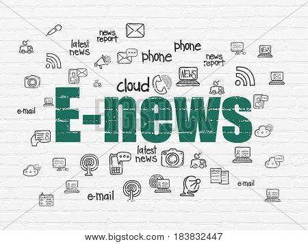 News concept: Painted green text E-news on White Brick wall background with  Hand Drawn News Icons