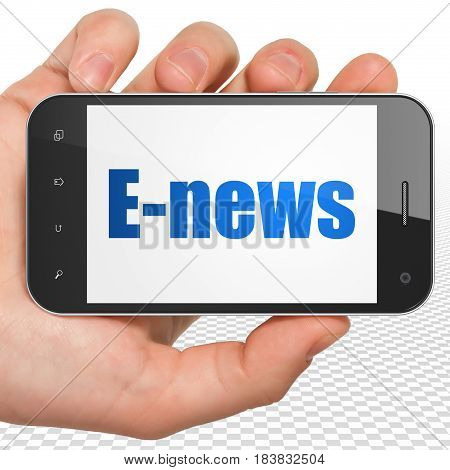 News concept: Hand Holding Smartphone with blue text E-news on display, 3D rendering