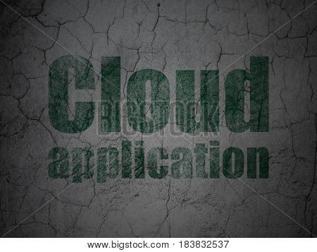Cloud computing concept: Green Cloud Application on grunge textured concrete wall background
