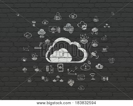 Cloud networking concept: Painted white Cloud icon on Black Brick wall background with  Hand Drawn Cloud Technology Icons