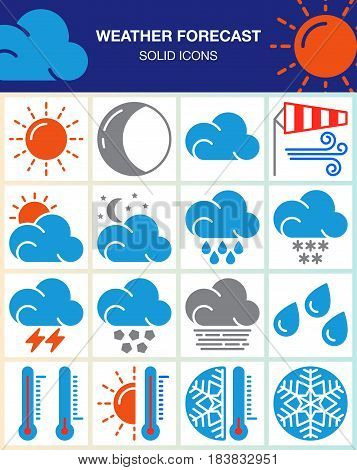 Weather forecast vector icons set modern solid symbol collection colorful pictogram pack isolated on white. Signs logo illustration