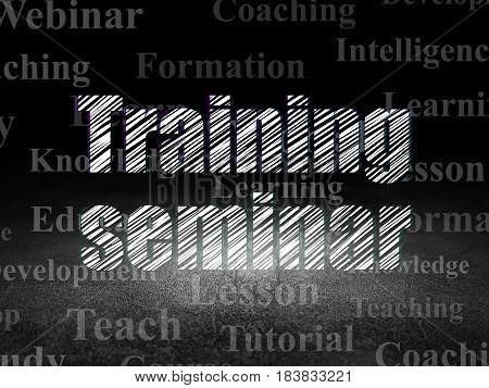 Education concept: Glowing text Training Seminar in grunge dark room with Dirty Floor, black background with  Tag Cloud