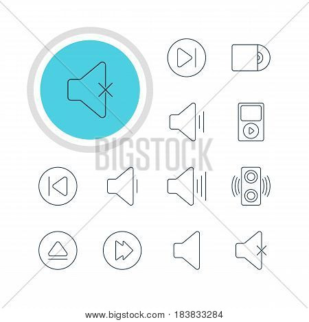 Vector Illustration Of 12 Melody Icons. Editable Pack Of Preceding, Soundless, Amplifier And Other Elements.