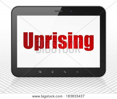 Political concept: Tablet Pc Computer with red text Uprising on display, 3D rendering