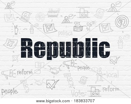 Political concept: Painted black text Republic on White Brick wall background with Scheme Of Hand Drawn Politics Icons