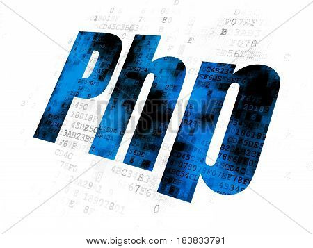 Software concept: Pixelated blue text Php on Digital background