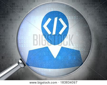 Software concept: magnifying optical glass with Programmer icon on digital background, 3D rendering