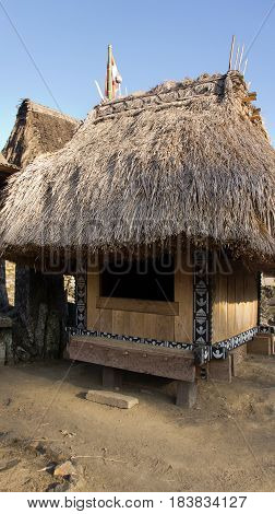 Hut of Bena a traditional village with grass huts of the Ngada people in Flores near Bajawa Indonesia.