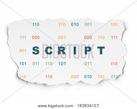 Software concept: Painted blue text Script on Torn Paper background with  Binary Code