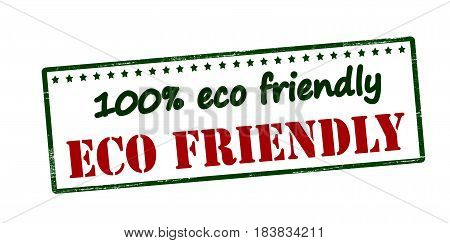 Stamp with text one hundred percent eco friendly inside vector illustration