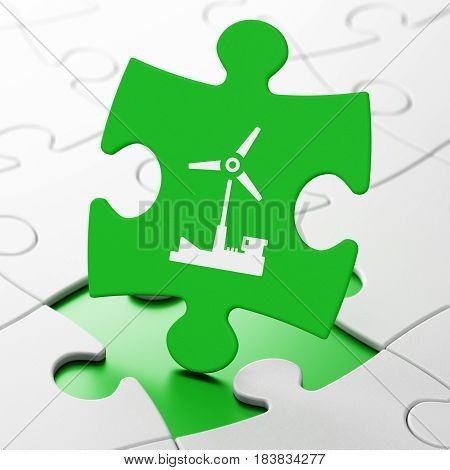 Industry concept: Windmill on Green puzzle pieces background, 3D rendering