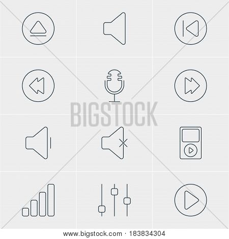 Vector Illustration Of 12 Melody Icons. Editable Pack Of Speaker, Rewind, Preceding And Other Elements.