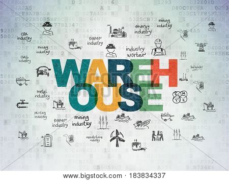 Manufacuring concept: Painted multicolor text Warehouse on Digital Data Paper background with  Hand Drawn Industry Icons