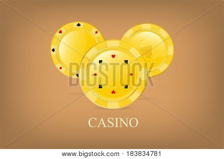 Casino poster background or flyer. Golden brilliant chips with suits and lettering Casino. Vector illustration