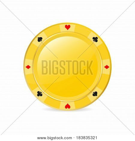 Golden Gambling Chip With Suits. Heart, Diamond, Spade, Club. Realistic  Chip