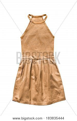 Yellow combined halter mini dress on white background