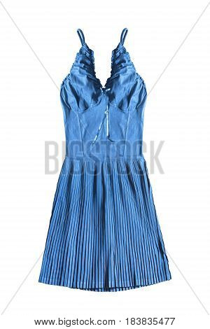 Blue sundress with pleated skirt isolated over white