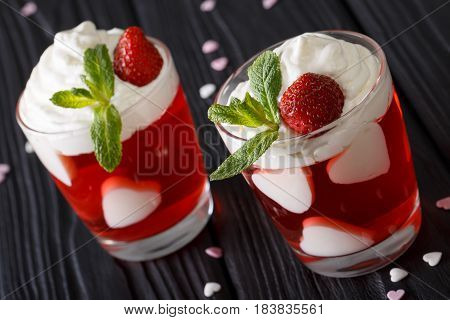 St. Valentine's Day Strawberry Dessert, Decorated With Hearts Close Up In A Glass. Vertical