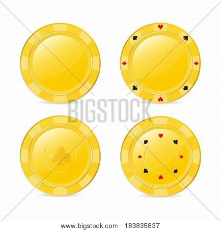 Golden gambling chips set with suits. Heart diamond spade club. Realistic chips vector illustration for website brochure logo ui in applications
