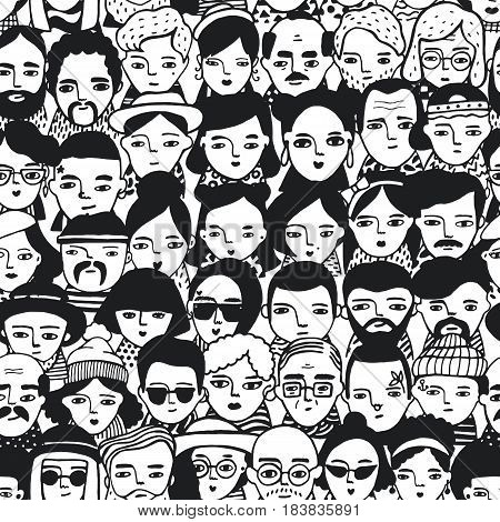 Seamless pattern of crowd different people, woman and man faces. Doodle portraits fashionable girls and guys. Trendy hand drawn wallpaper. Black and white vector background