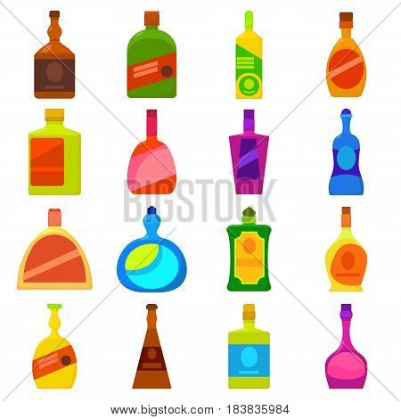 Bottles types icons set. Cartoon illustration of 16 bottles types vector icons for web