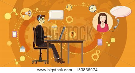 Call center horizontal concept. Cartoon illustration of call center banner horizontal vector for web