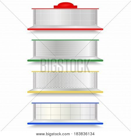 Empty Supermarket Shelves Set. Realistic Vector Showcase With Red, Green, Yellow And Blue Backlights