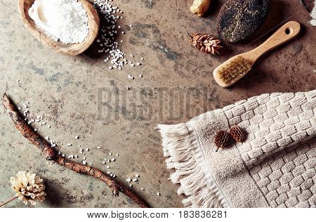 Natural body care  products on stone background