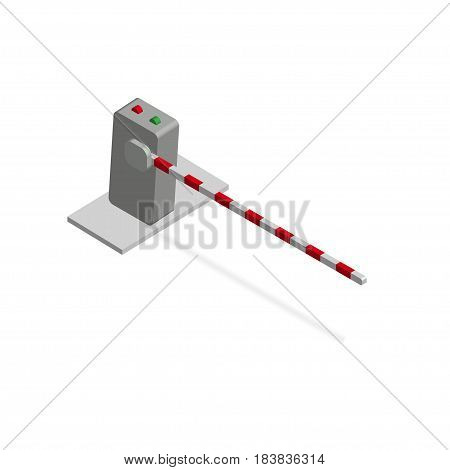 Isometric barrier. Crossbar for opening and closing the way at level crossings and parking. Vector illustration