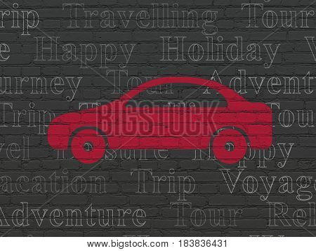 Tourism concept: Painted red Car icon on Black Brick wall background with  Tag Cloud