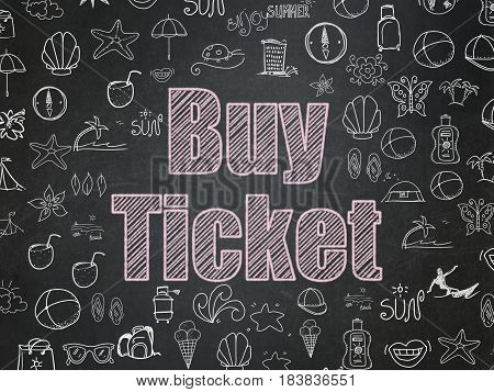 Vacation concept: Chalk Pink text Buy Ticket on School board background with  Hand Drawn Vacation Icons, School Board