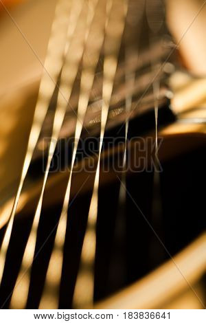 The Strings of a Guitar - Close Up