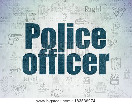 Law concept: Painted blue text Police Officer on Digital Data Paper background with  Scheme Of Hand Drawn Law Icons