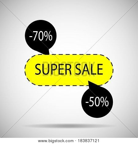 sale banner design. Creative discount poster special offer tag.