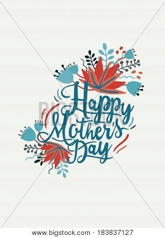 Happy mothers day postcard. Card with hand drawn lettering and flowers