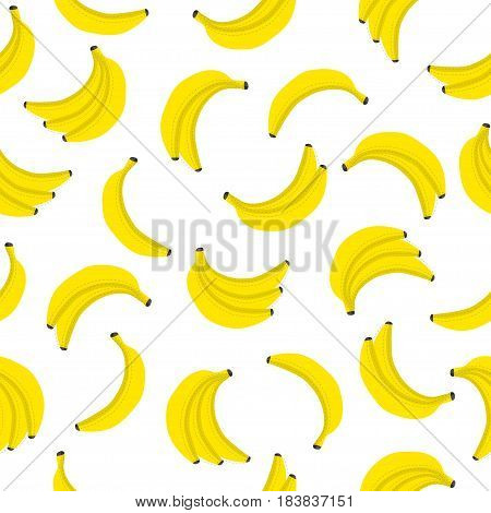 Banana vector seamless pattern. Bunches of fresh yellow bananas with dotted line around. Textile fabric print wrapper poster