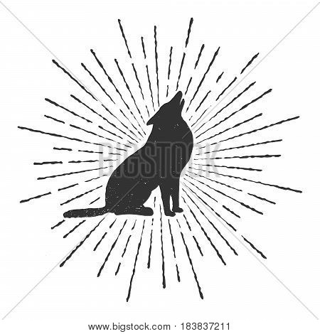 Sign of howling wolf.Typography prints design.Vector illustration