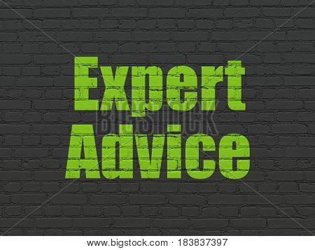 Law concept: Painted green text Expert Advice on Black Brick wall background