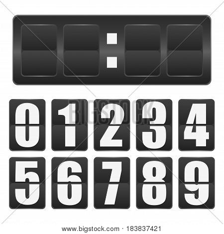 Countdown timer. Mechanical scoreboard blank with numbers from zero to nine. Realistic template. Vector illustration