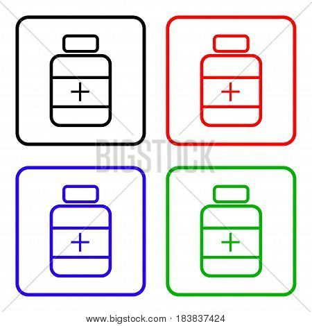medicine bottle icon set. Drugs sign icon. Pack with pills symbol.
