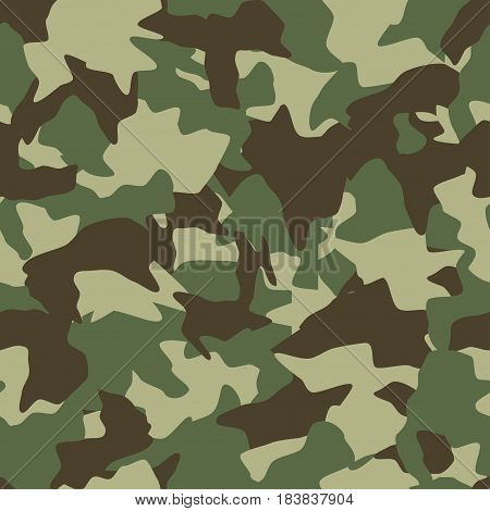 Camouflage seamless pattern. Green brown olive colors forest texture. Vector military camouflage background