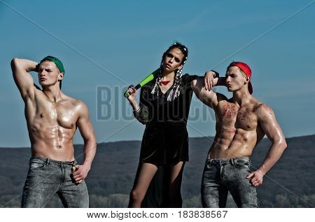 Baseball Woman And Muscular Men In Cap