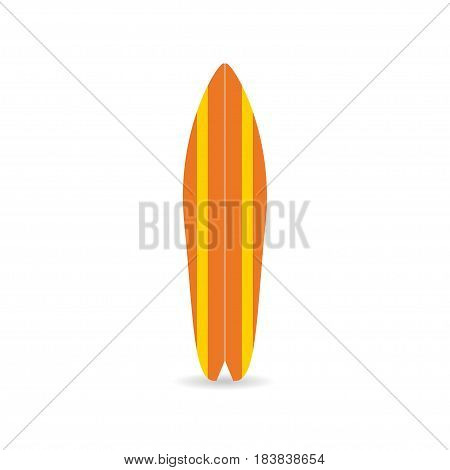 Classic surfboard. Colorful fish board with shadow surfers equipment. Vector illustration for t-shirt print poster banner for surfers clothes