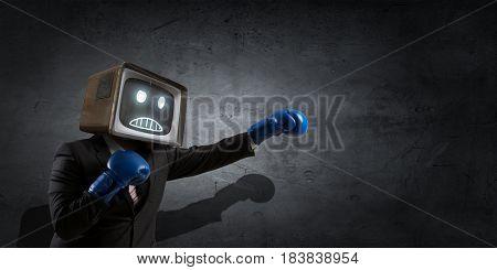 Monitor headed businessman