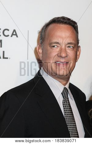 NEW YORK, NY - APRIL 26: Tom Hanks attend 'The Circle' premiere during the 2017 Tribeca Film Festival at BMCC Tribeca PAC on April 26, 2017 in New York City.