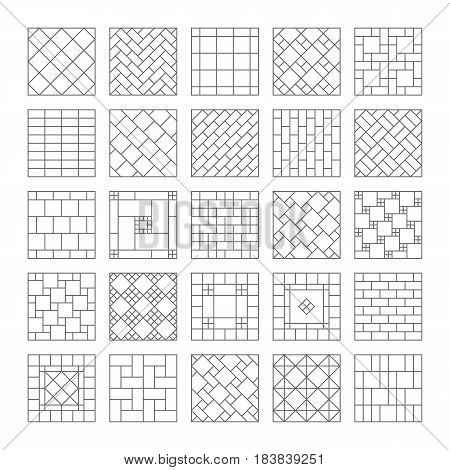 Design ceramic tile and mosaic. Composition of the tile, mosaic on the wall or on the floor. Geometric ornamental. Set of simple vector icons and design elements. Vector collection.