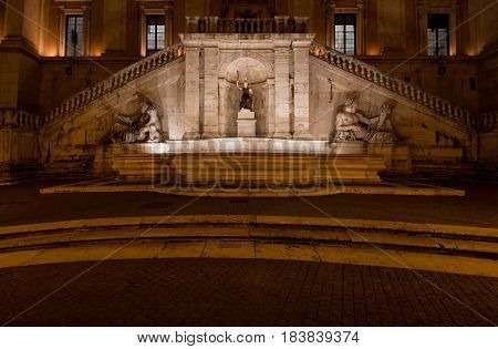 The Fountain of Goddess Roma (Dea Roma) by night, Piazza del Campidoglio, Rome, Italy