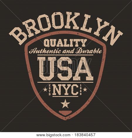 New York Brooklyn USA sportswear emblem in shield form. Vintage athletic university apparel design with lettering. T-shirt graphics poster banner badge. Vector
