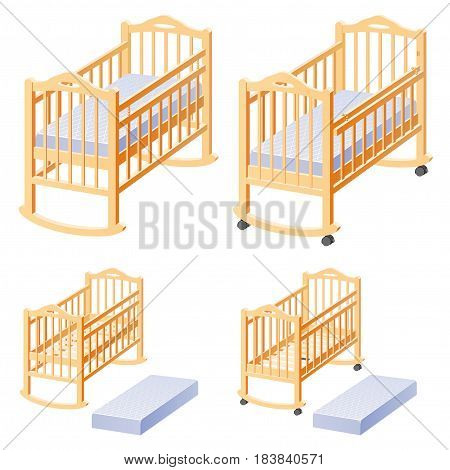 Cot for baby with mattress. Options position.