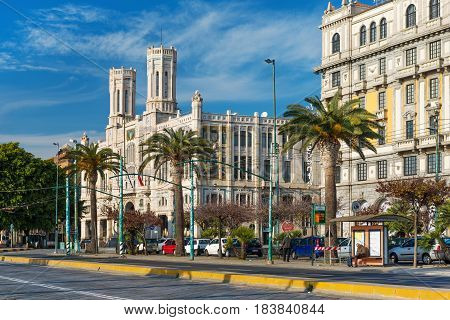 Cagliari, Sardinia - January 2 of 2016, Italy: View of the main street (Via Roma), view on Town Hall and